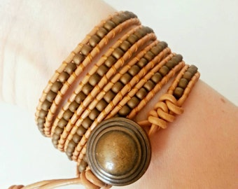 Beaded Leather 5 Wrap Bracelet