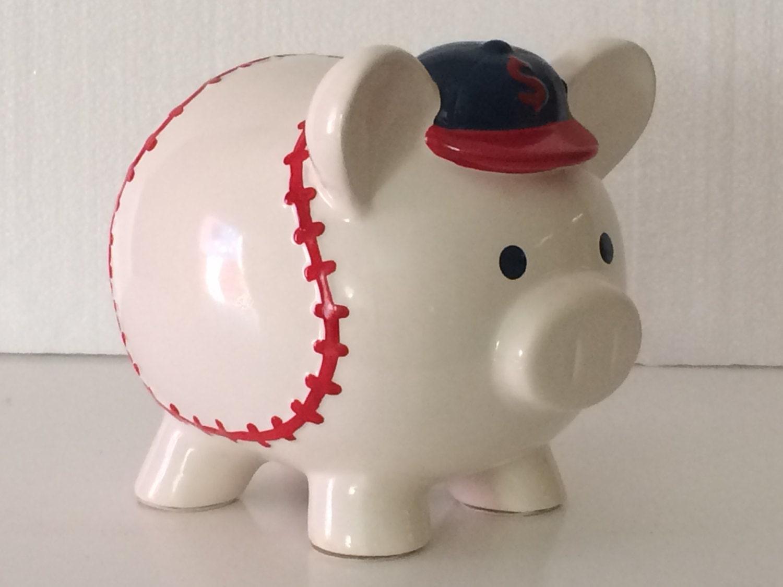 Vintage ceramic baseball piggy bank boy 39 s and by belladonnasattic - Ceramic piggy banks for boys ...