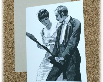 Wedding Card Bride and Groom Happy Honeymoon Suggestive Greeting Card Steam Punk Victorian Black & White