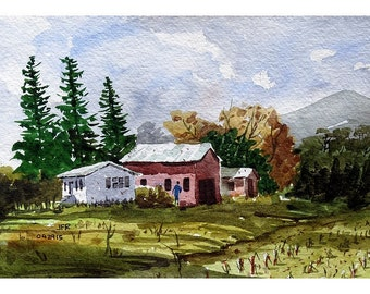 Farm Rt 223 NY, original watercolor