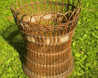Shapely Natural Antique Wicker Basket Circa 1900