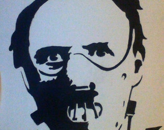 "Hand painted Hannibal Lecter canvas board (8""x10"") Hannibal stencil art"