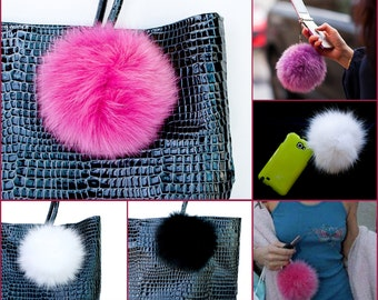 Fox Fur Cell phone Dust Cap Plug Strap HandBag Pendant Charm Key Chain