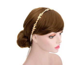 Gold Plated Flower Crown Headband,Wedding Bridal Tiara Hair,Bridesmaid Headpiece-WH10R133