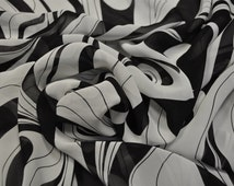 Sale! Chiffon fabric, viscose black and white. Made in Italy. The price is for 1 meter (39 inches) Dress fabric, scarf italian fabric,
