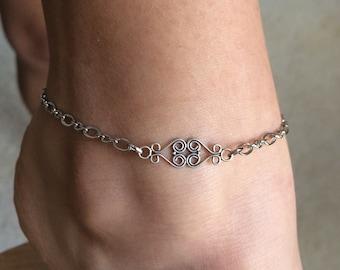 Antique Silver Vintage Swirl Anklet