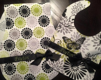 Ribbon Bib and Burp Cloth Set