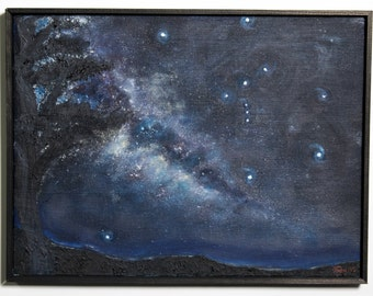 "Medium Original Oil Painting Night sky ""Connections"" by Aaron S. Dye"