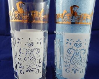 Set of 2 White and Gold  Pennsylvania Dutch Glasses