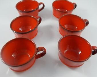 6 Metlox Poppytrail Red Coffee Cups