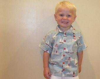 Boys Button Up Short Sleeve Shirt Ahoy Yacht Fabric