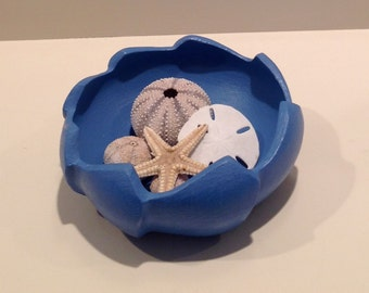 Annie Sloan Painted Wooden Bowl - Greek Blue. Great for holding office supplies, seashells, candies and more....