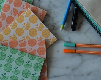 Cheerful Citrus | Set of 6 Patterned Notecards