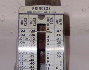 1958 Postal Scale - Princess Company - Vintage Office - Shipping Supplies - Pelouze-Evanston - Post Office Collectible