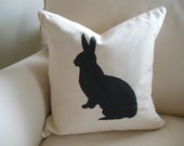 Cottage Bunny Silhouette Rabbit Pillow Cover. Shabby Farmhouse Pillow Cover. Handpainted Easter Rabbit Envelope Pillow Cover. Made To Order.