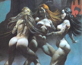Vintage fantasy art illustration waterwheel
