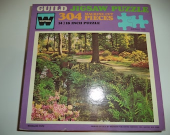 Vintage 1970's Whitman / Guild 304 Piece Puzzle #4425-164 Woodland Path New Sealed