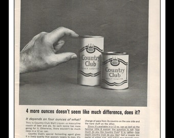 Vintage Print Ad July 1964 : Country Club Malt Liquor Advertisement Wall Art Decor
