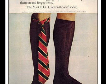 "Vintage Print Ad December 1964 : Interwoven Socks Fashion Clothing Wall Art Decor 8.5"" x 11"" Advertisement"