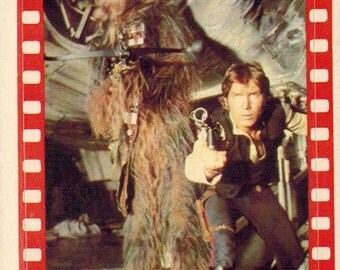 1977 OPC O-Pee-Chee Star Wars Series 4 (Green) Non Sport Trading Card Sticker Insert : #34 Han Solo and Chewbacca