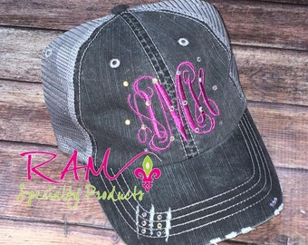 Monogrammed Trucker Hat WITH BLING