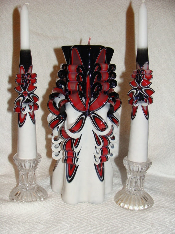 3pc hand carved unity candle set unity candle with set of