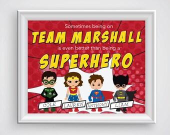 Custom Super Hero Family Digital Print