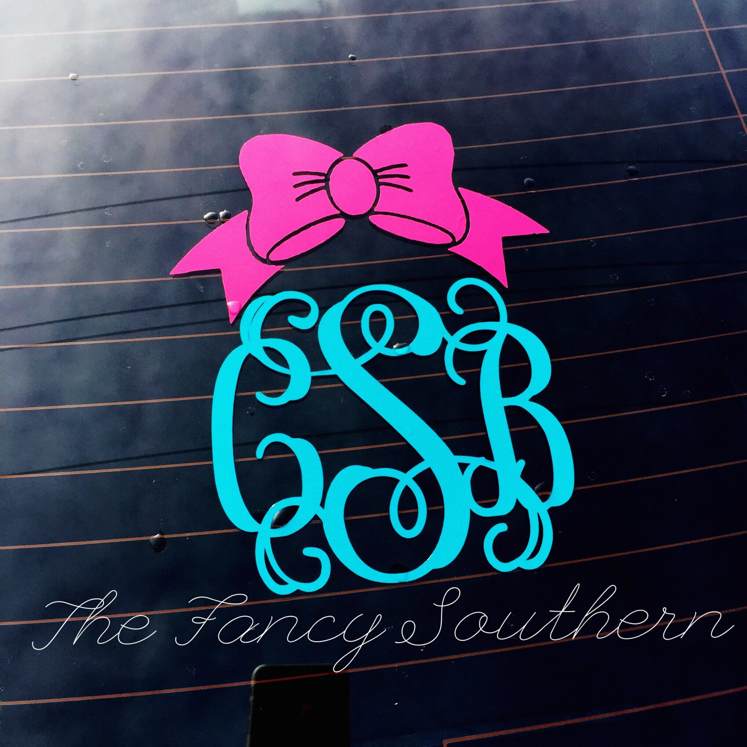 Monogram Bow Preppy Car Decal By TheFancySouthern On Etsy