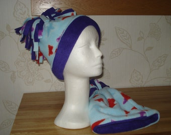 Handmade Childs Crazy Fleece Hats with Butterflies 2 to 3 years