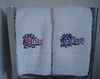 Bride and Groom Hand Towels, Embroidered with Gothic Motif