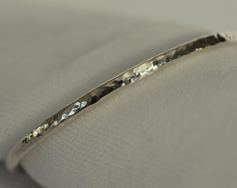Child's Sterling Silver Bangle Bracelet, Small Peen Texture
