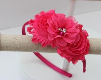 Hot pink headband, pink flower girl headband, hot pink wedding headband, plastic headband, fuchsia headband, flower girl outfit headband