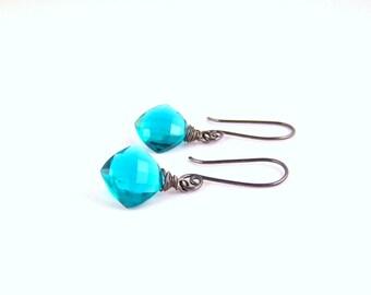 Teal Blue Crystal Quartz Oxidised Sterling Silver dangle earrings blue green black gemstone