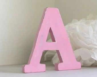 wooden letter A - pink wood letter - custom letters - wedding decoartion - mylittledecor - baby bedroom - custom letter -