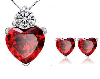 Red Ruby Heart Earring/Necklace set