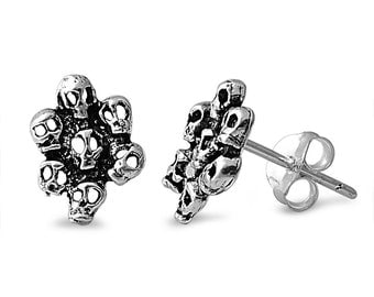 Tiny Skulls Style Small Stud Earrings Sterling Silver .925