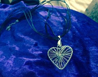 Silver Wire heart pendant on black organza ribbon necklace