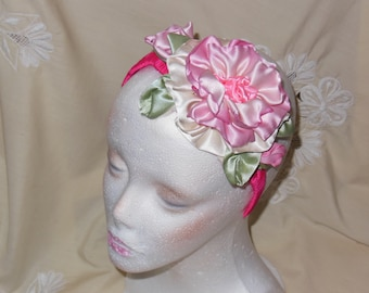 Headband Ribbon Pink Rose Handmade