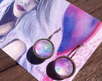 Original abstract, abstract artwork, acrylic, watercolour painting, bronze earrings