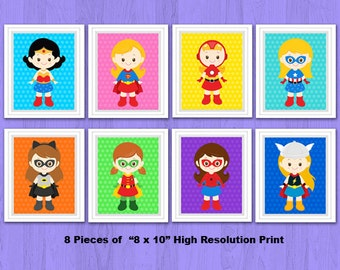 Superhero Girl Wall Print, Superhero Girl Wall Art, Superhero Nursery Decor, Superhero Digital Print