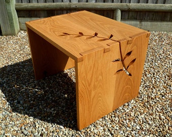 Handcrafted Contemporary Oak Leaf Wrap Side Table