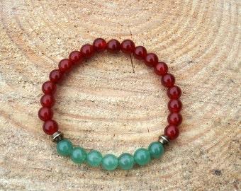 Mala style bracelet with Carnelian & Aventurine