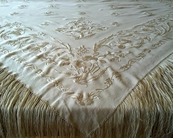 SHAWL Rare Antique Piano Floral Motive Design c.1900s Handmade Silk Fringes/Silk Hand Embroidered Cream Ivory Floral Motive Silk Piano Shawl