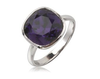 Purple Velvet Cushion 12mm Ring