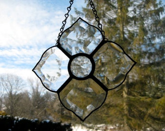 Hand made art clear bevel stained glass suncatcher
