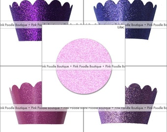 GLITTER Sparkle CUPCAKE WRAPPERS (4 pc, 12 pc, 24 pc) -- choose from Eggplant Purple, Violet, Magenta, Pastel, Lilac