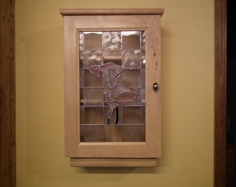 Cabinet or pharmacy pine with stained glass door