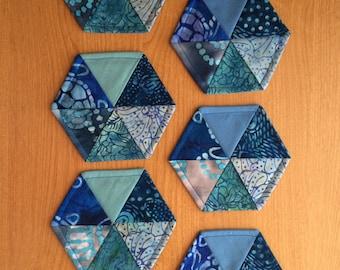 Set of Six Hexagon Coasters - Shades of Blue