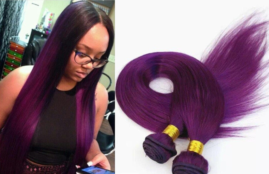 Ombre 100% Human Vigin Hair Extensions Purple By