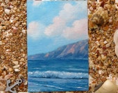 Small sea painting - Miniature on deco easel - Original small painting - Seascape - Small art - Sea art - Mini painting - Seashore decor